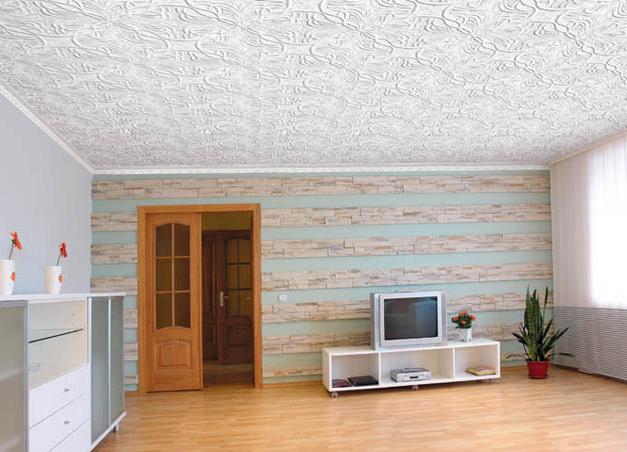 фото потолок плиткой