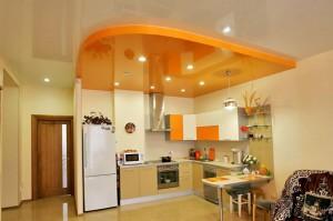 оформление потолка, на кухне, натяжной потолок, фото