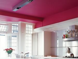 покрашенный потолок, оформление, фото, на кухне