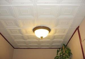 оформление потолка, из плитки, фото