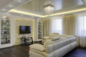 глянцевый, натяжной потолок, в гостиной, в зале, фото