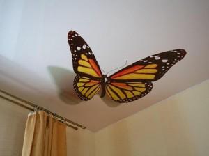 оформление потолка, в детской, бабочка, фото