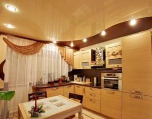 двухцветный, натяжной потолок, на кухне, фото