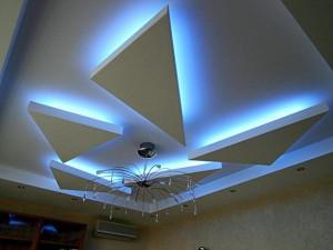 красивые потолки из гипсокартона, для гостиной, в зале