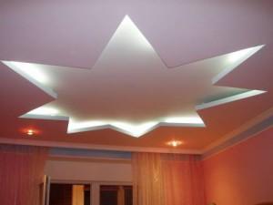 красивый потолок из гипсокартона, в зале