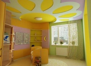 красивый потолок из гипсокартона для детской