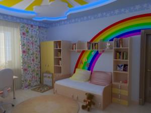 красивый потолок из гипсокартона в детской