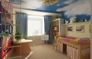 потолок детской комнаты, эффект небо